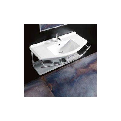 Topazio Ceramic Ceramic Rectangular Vessel Bathroom Sink with