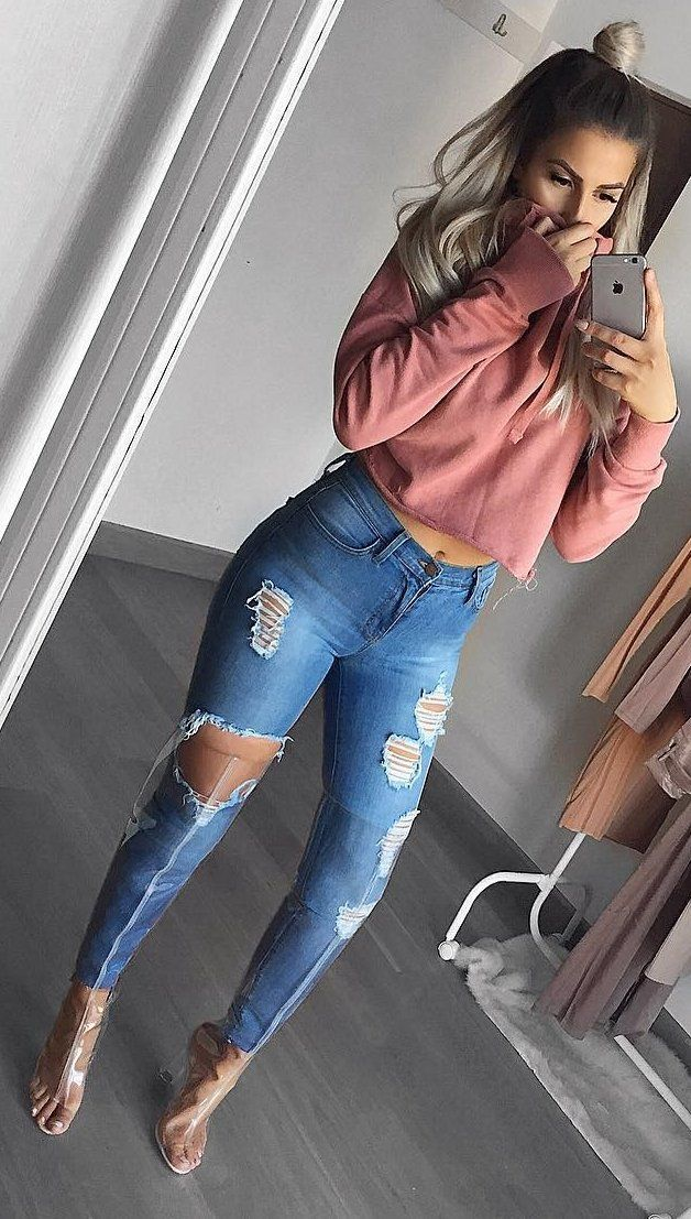 49ae2ca3d3e  winter  fashion   Pink Sweater + Destroyed Skinny Jeans