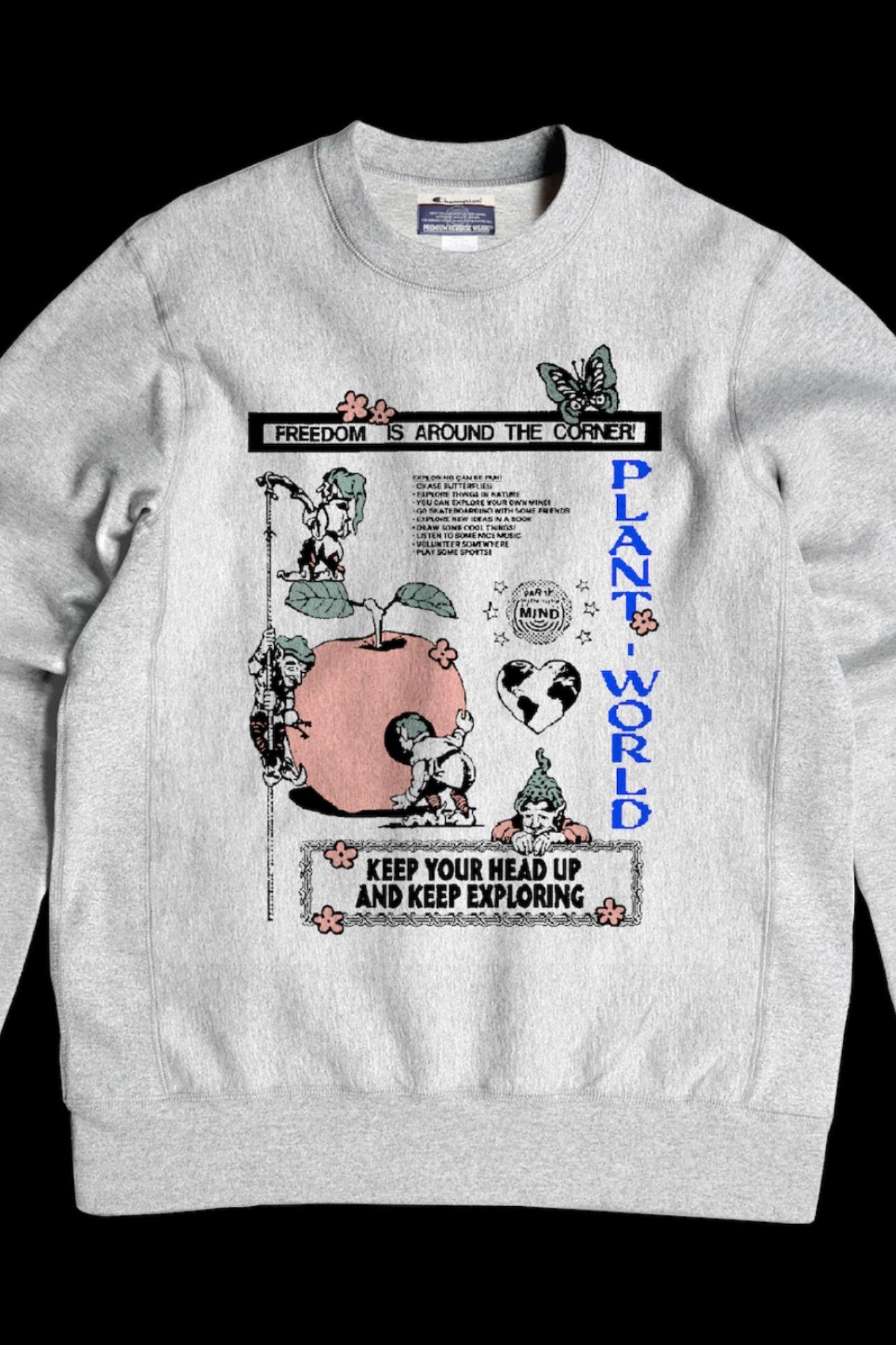 Plant World Studio Explore Sweatshirt Sweatshirts Grey Sweatshirt Champion Sweatshirt [ 1947 x 1298 Pixel ]
