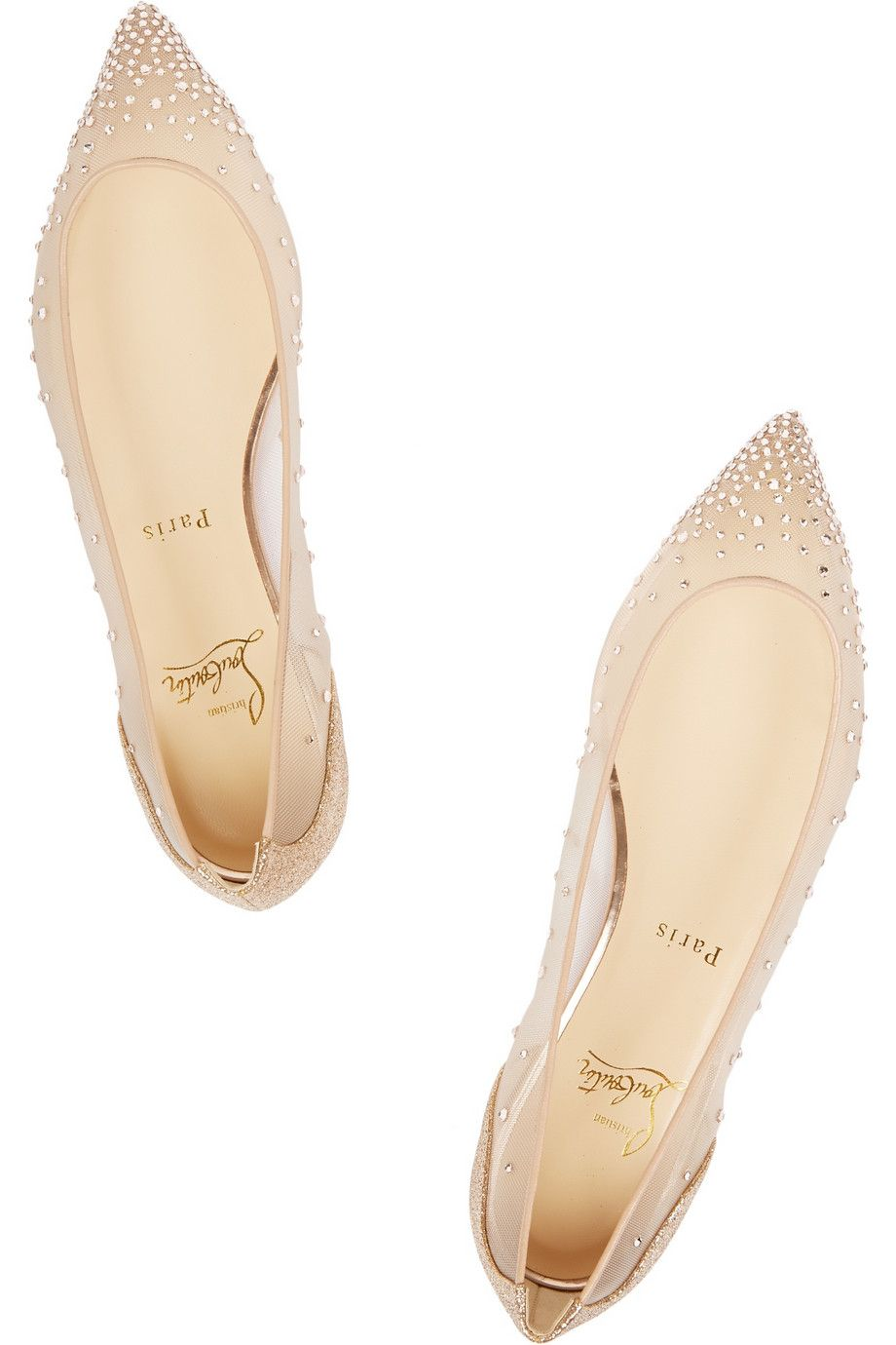 576368d7a6c3 Christian Louboutin Body Strass Embellished Mesh Point-Toe Flats in Beige  (Neutrals)
