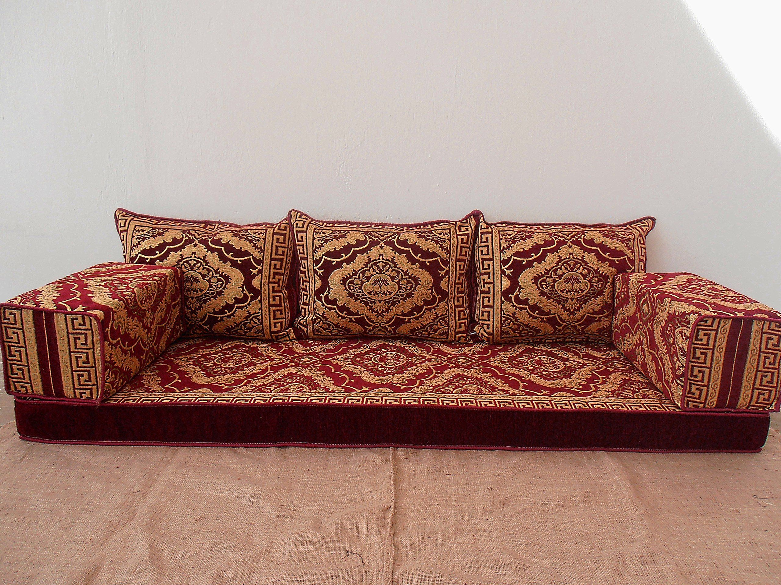 Arabic Floor Seating Arabic Sofa Arabic Couch Floor Seating Sofa Oriental Seating Hookah Bar Decor Arabic Furniture Sofa Handmade Bohemian Furniture Sofa Set