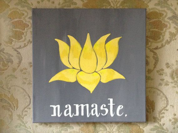 Yellow Lotus Namaste Acrylic Painting on Canvas by MWstyle on Etsy, $30.00
