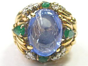 DIAMOND, SAPPHIRE AND EMERALD RING. Click the image for more information.