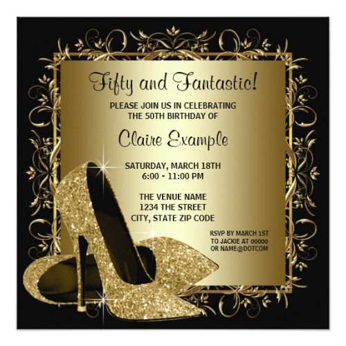 Black Gold High Heels Womans Birthday Party Invitation Gold High