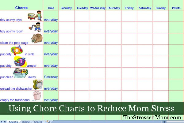 Free Excel Chore Chart Template  ThestressedmomCom  How To Do