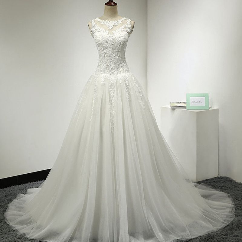 Sleeveless A-line Lace Appliqué Tulle Wedding Dress with Illusion Neckline and Chapel Train