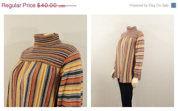SALE Vintage Shirt 70s Turtleneck Striped Babydoll Top Multi Colored Long Sleeves Can Fit Size Small and Medium