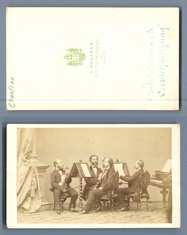 L Angerer Vienne Le Violoniste Henri Vieuxtemps En Compagnie De Trois Autres CDV Portraits Musiciens Peintres