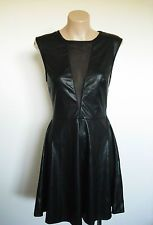 CHIC A BOOTI Black Shiny Faux Leather LBD Mesh Insert Fit & Flare Dress sz S 8