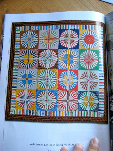 """Wagon Wheel quilt made of """"Happy Campers"""" fabric from American Jane"""