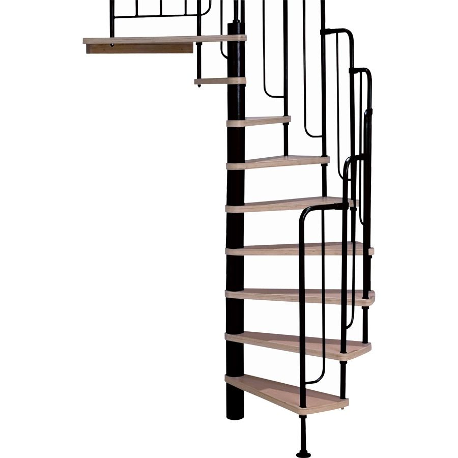DOLLE Barcelona 55 In X 9.5 Ft Black With Wood Treads Spiral Staircase Kit
