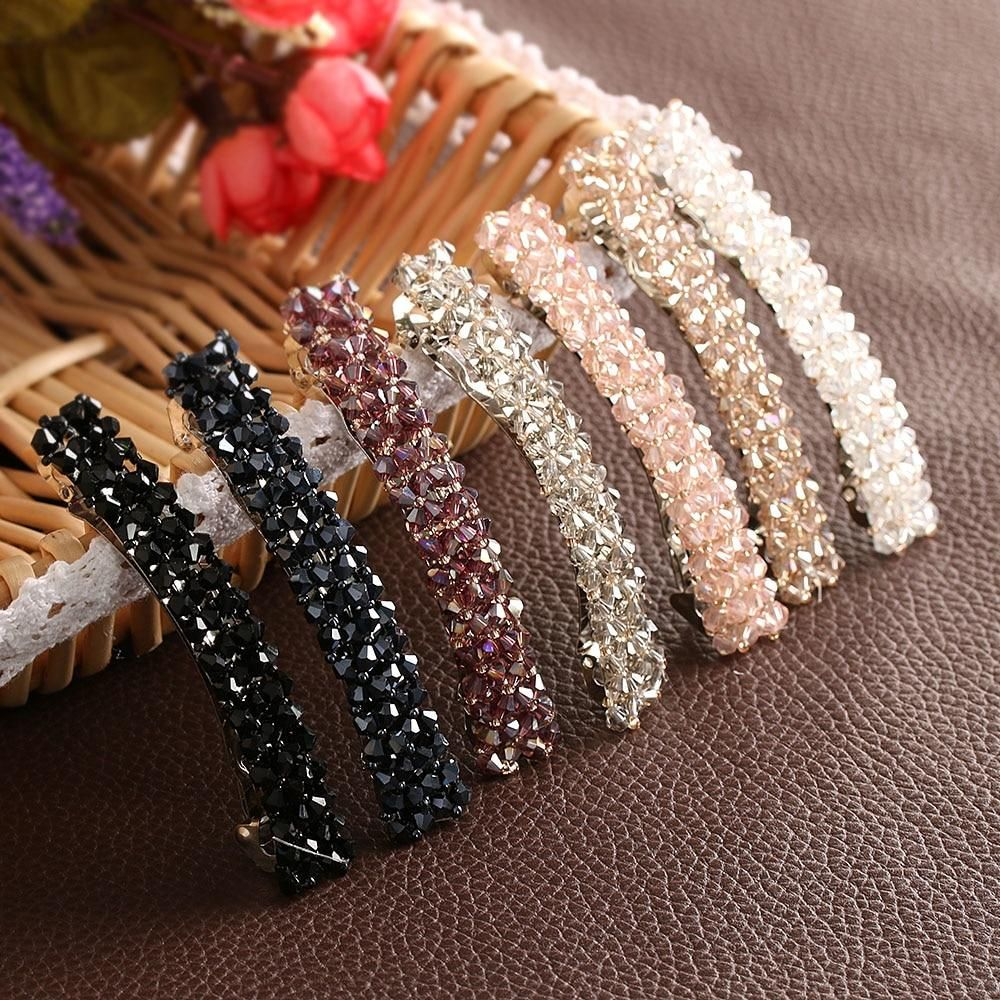 1Pcs Bling Crystal Hairpins Headwear forWomen Girls Rhinestone Hair Clips Pins Barrette Styling Tools Accessories 7 Colors #hairclips
