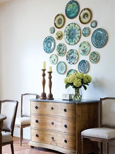 Plates On Wall In Dining Room Display