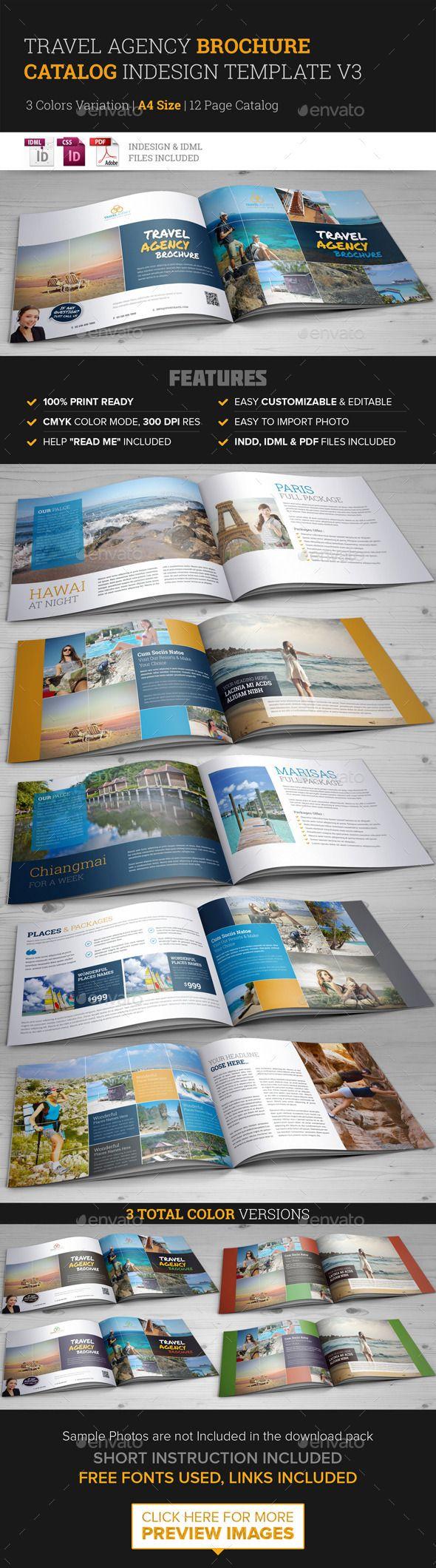 Travel Agency Brochure Catalog InDesign Template 3 | Pinterest ...