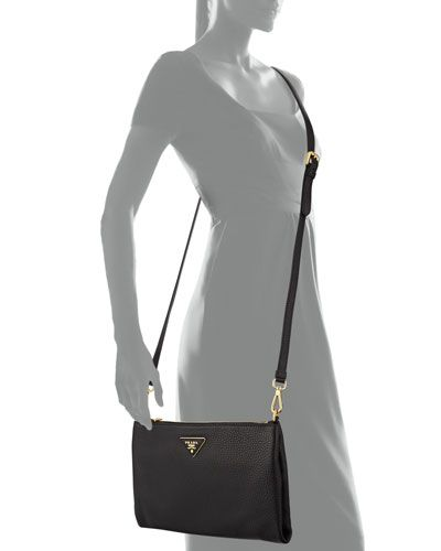 635aeea1ea86 Prada Vitello Daino Crossbody Bag, Black (Nero), 8