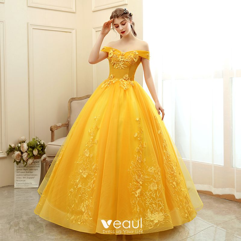 Chic / Beautiful Gold Prom Dresses 2020 Ball Gown Off-The-Shoulder Short Sleeve Appliques Lace Pearl Floor-Length / Long Ruffle Backless Formal Dresses