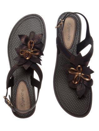 Grendha Black Floral Jasmine Sandals