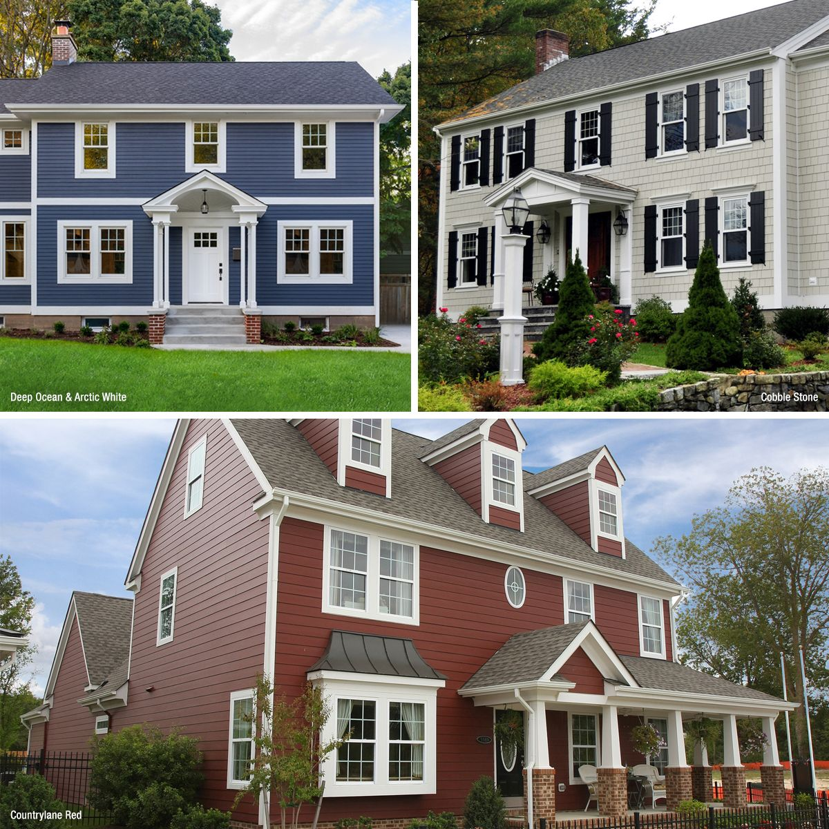Colonial House Color Ideas Get Inspired With Siding Options For Your New Home Or Re Side Project Exterior House Siding Colonial House Exteriors Colonial House