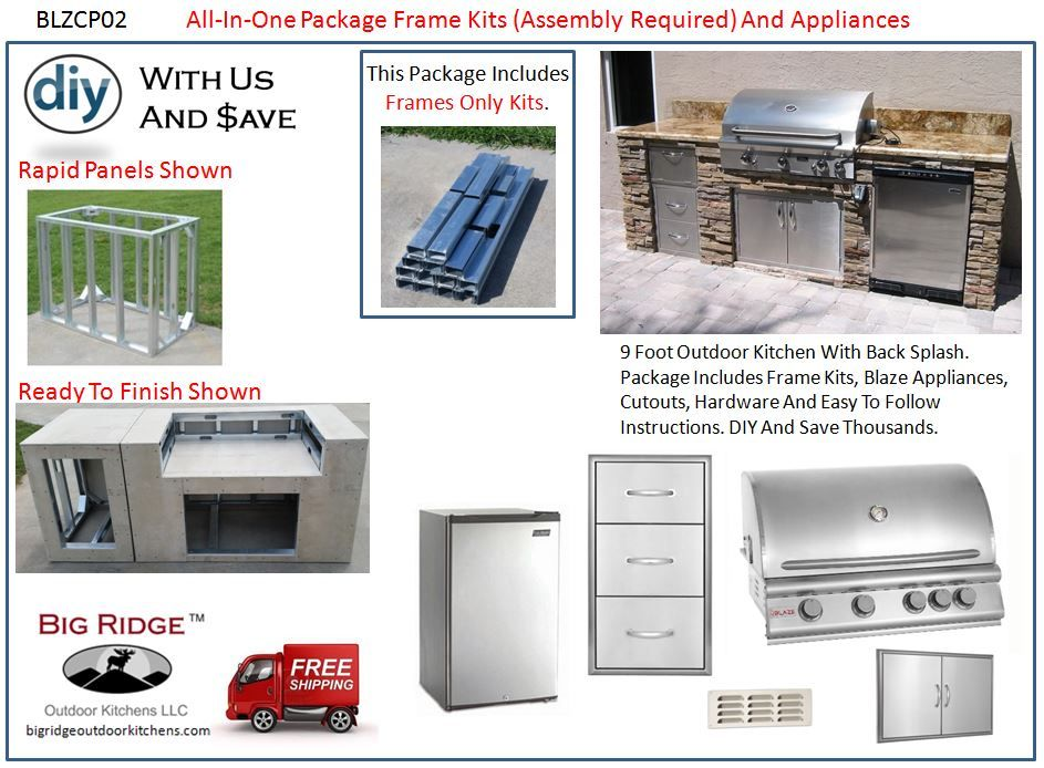 BLZCP02 Outdoor Kitchen Kit Package Blaze Appliance And Module