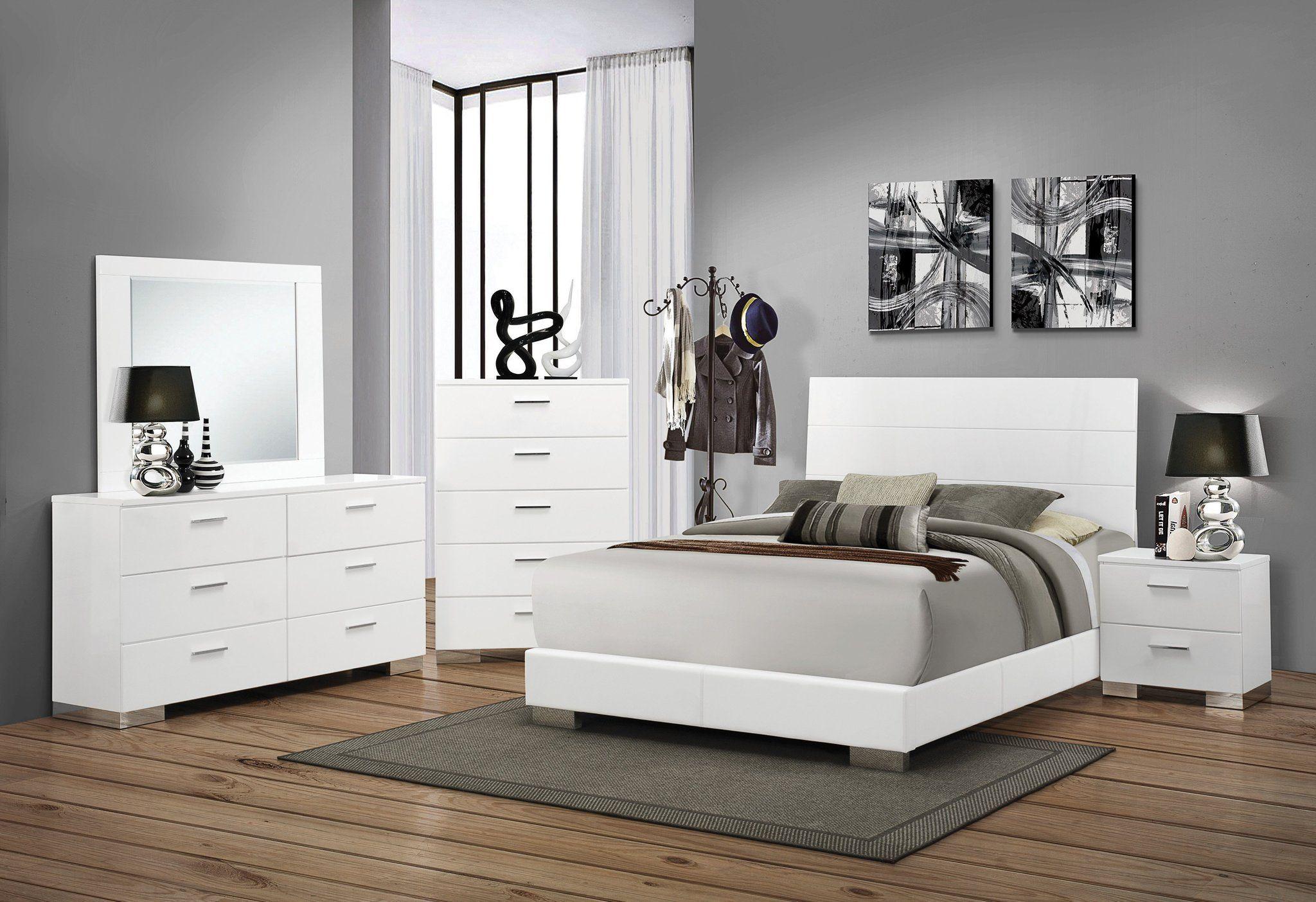 Felicity High Gloss White Queen Slat Headboard Bedroom Set