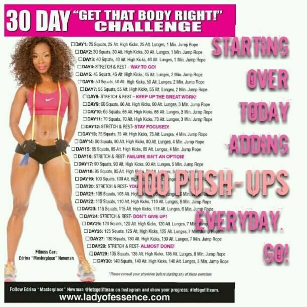 "Todays Challenges For Crucial Aspects Of Weightlifting: 30 Day ""Get That Body Right"" Challenge: Start Today! If"
