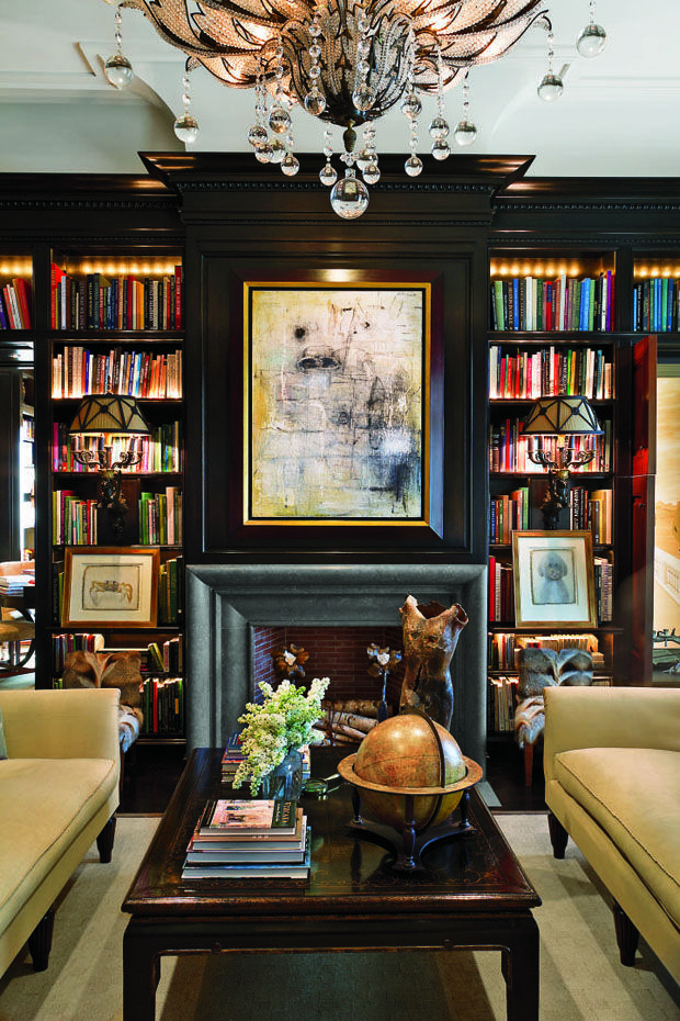 Living Room Library Design Ideas: New Satin Black Painted Bookcases