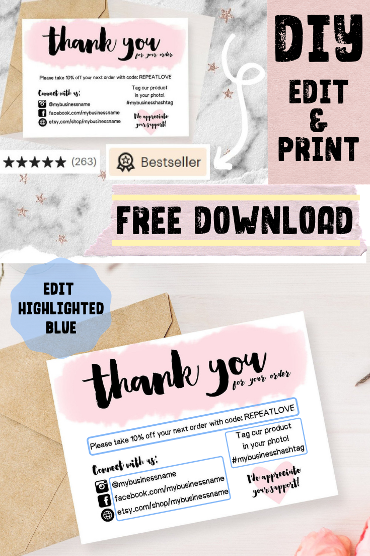 Thank You For Your Order Cards Dyi Edit And Print Free Download Free Printable Business Cards Small Business Cards Printable Thank You Cards
