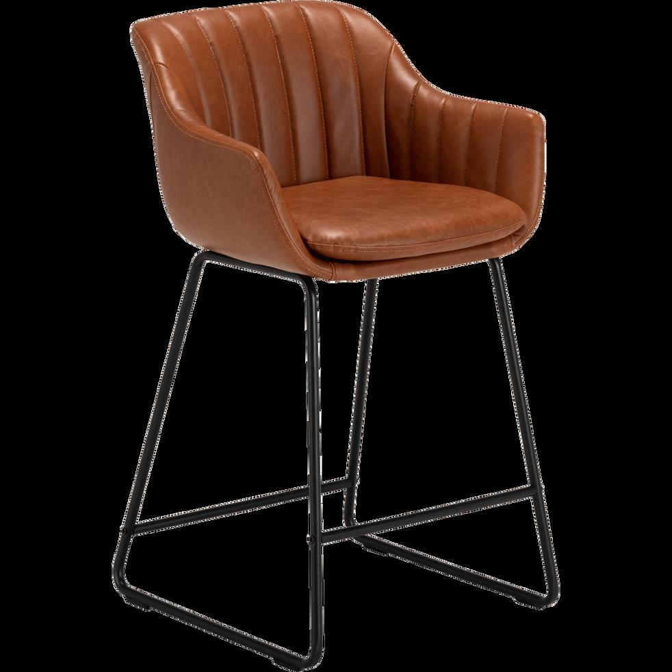 chaise haute en cuir marron  olbia  tabourets de bar