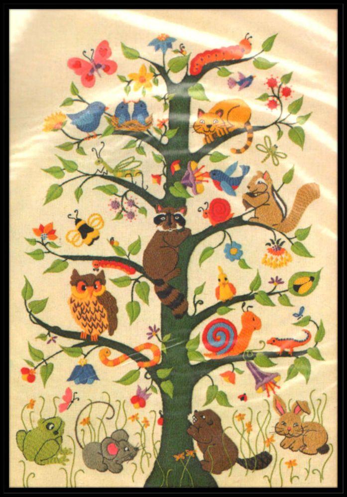 "VINTAGE 1981 DIMENSIONS ANIMALS ""TREE OF LIFE"" CREWEL EMBROIDERY KIT ~ SEALED"