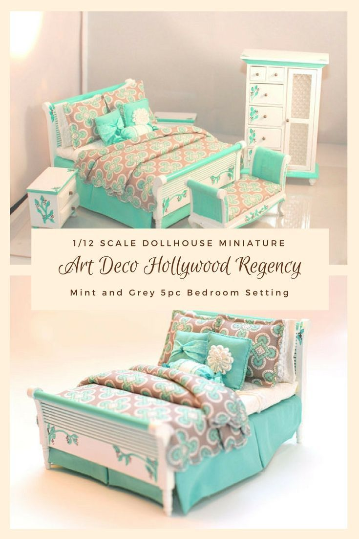 This 5 Piece 1/12 Scale Miniature Dollhouse Bedroom Set Is A Green Aqua    Almost A Mint Green Combined With Grey. I Find The Fabric So Modern Yet Su2026