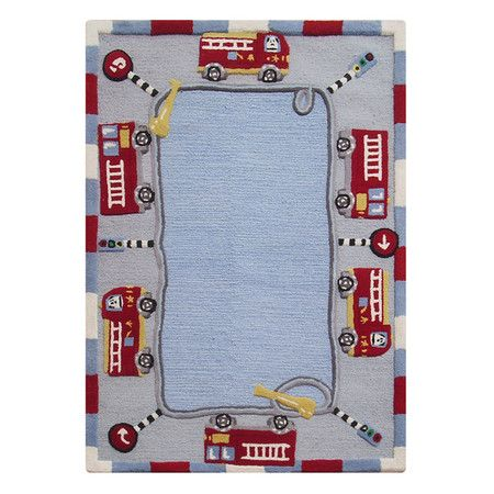 Another Great Find On Blue Fire Truck Wool Rug By Nuloom