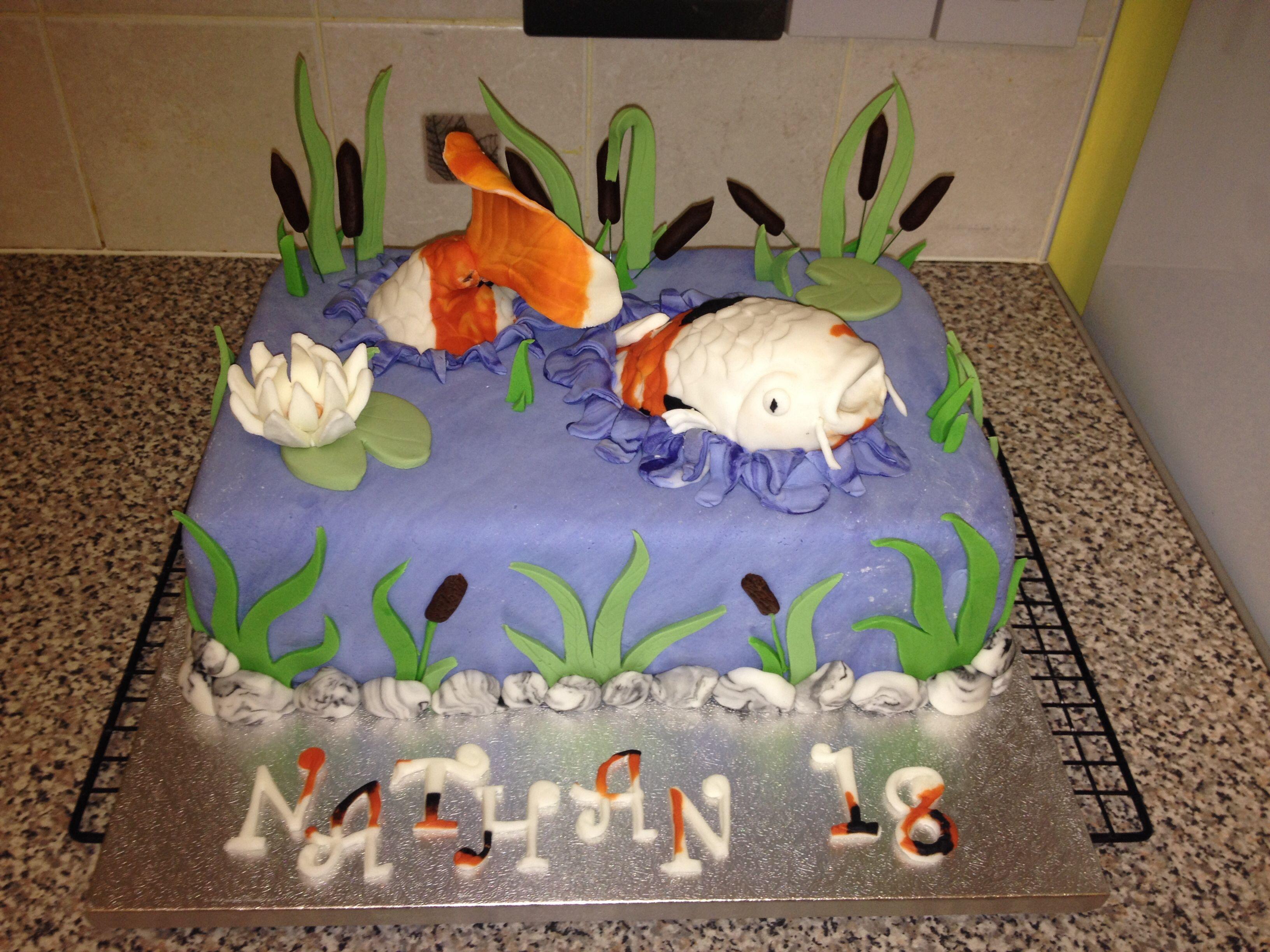 Koi Carp Cake 100 Edible Fondant Koi Carp Garden Pond Cake