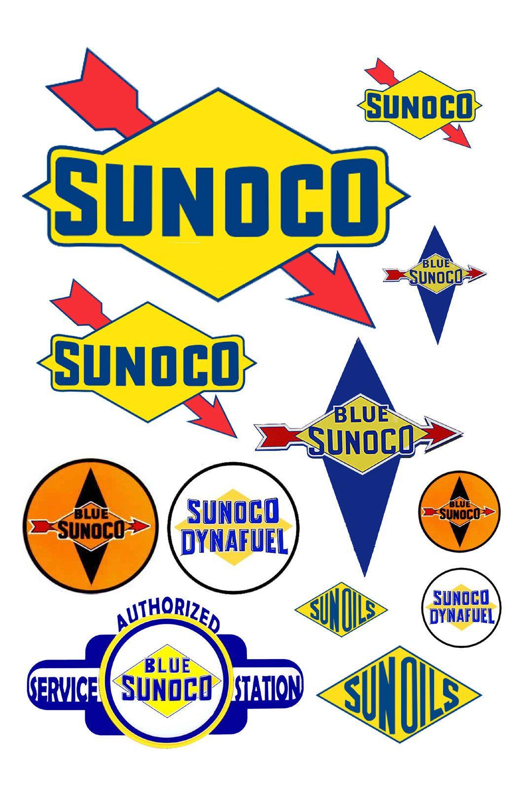 1 INCH SUNOCO DECALS STICKERS