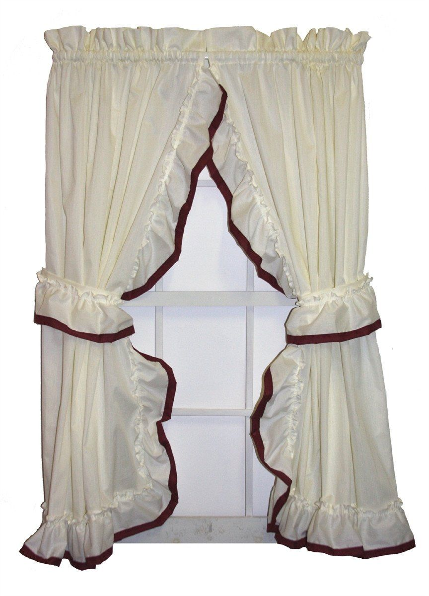 Lucy Country Ruffled Priscilla Window Curtains With Banded Edge