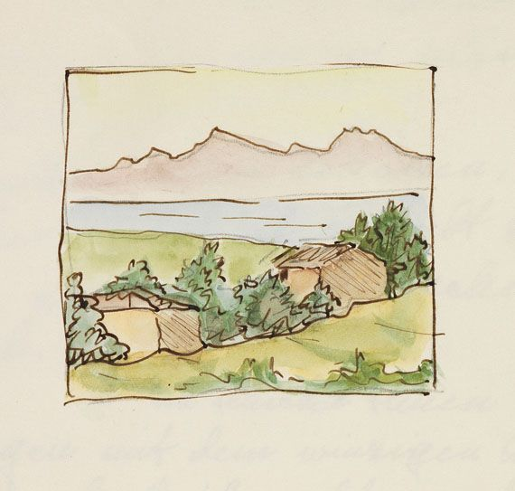 Hermann Hesse Aquarell Auf Brief Von Ninon Hesse Gelocht 1958