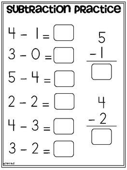 Subtraction Practice K Oa 1 Freebie Tara West