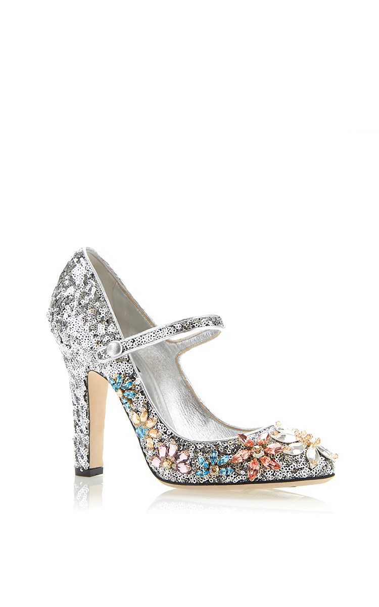 Silver Sequined Mary Jane With Swarovski Flowers by Dolce & Gabbana for Preorder on Moda Operandi