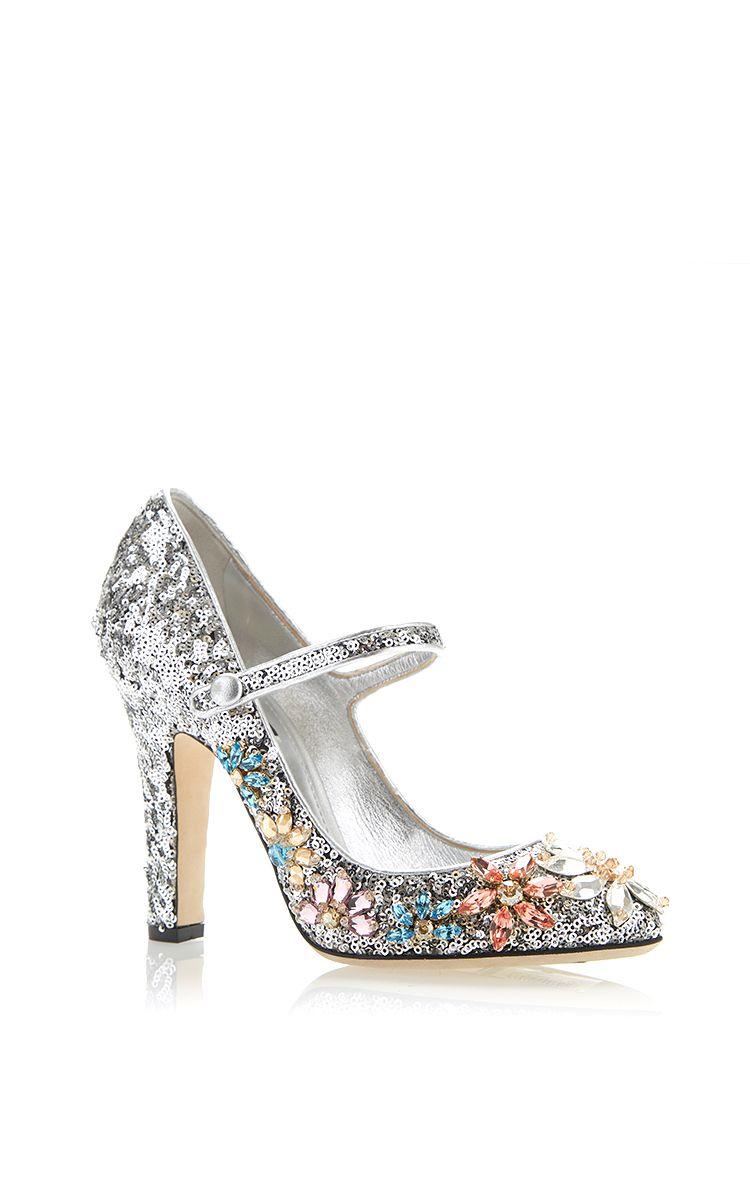Silver Sequined Mary Jane With Swarovski Flowers by Dolce & Gabbana for Preorder on Moda Operandi
