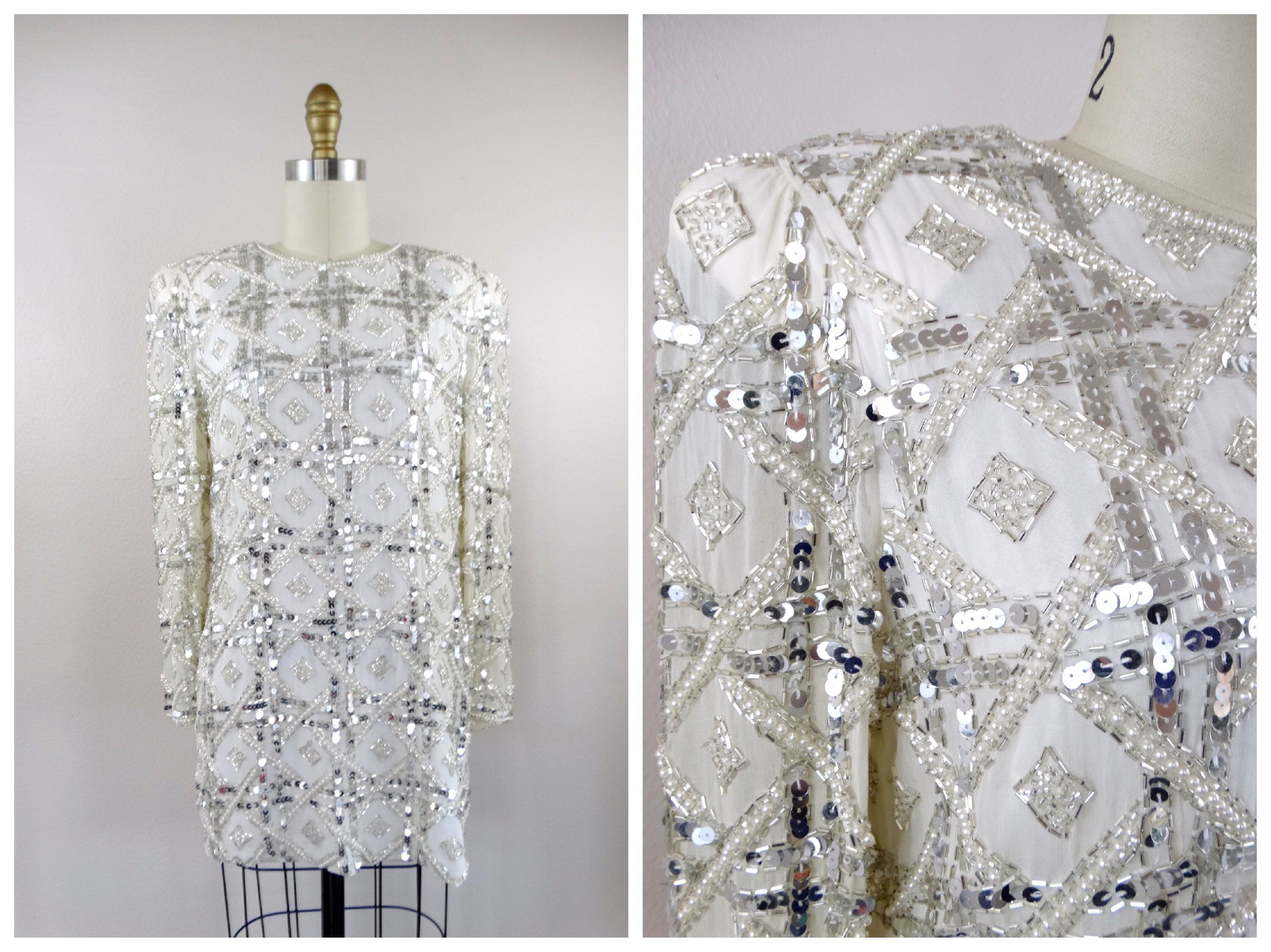 7b33b450 Vintage Pearl Beaded Sequin Embellished Mini Dress / Silver Sequined White  Silk Long Sleeved Tunic Top or Micro Mini Dress S XS