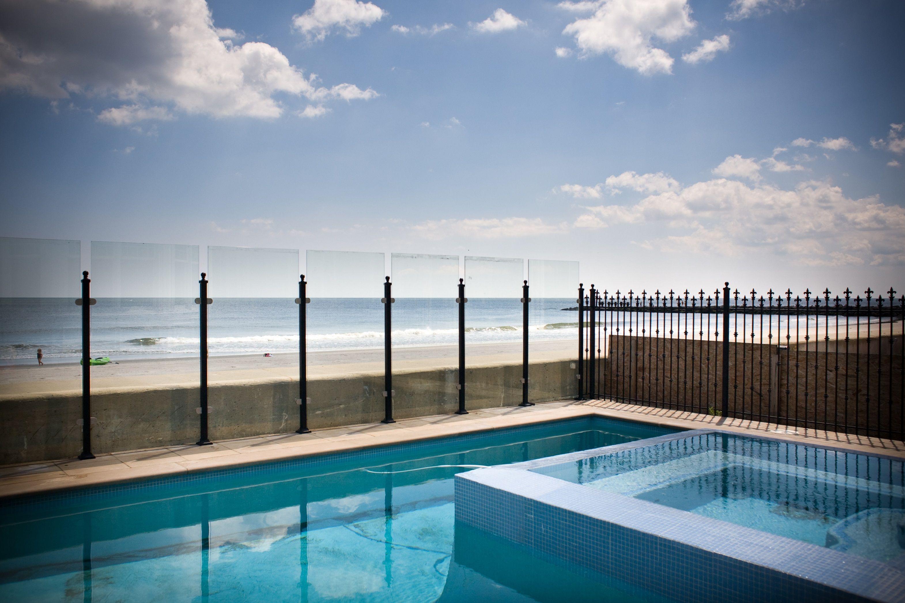 Glass Pool Fence Along The Beach Near Ocean City Nj Glass Pool Fencing Glass Fence Pool Fence