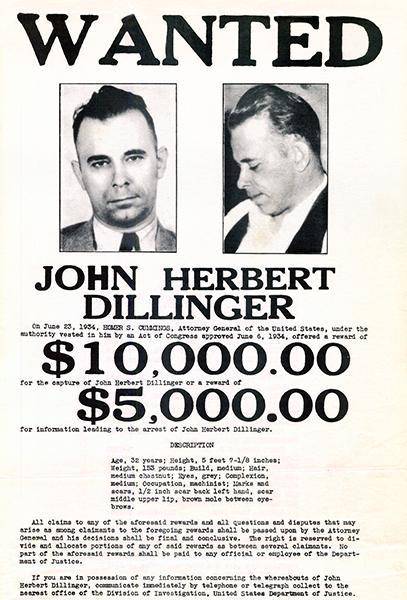 John Herbert Dillinger - 1934 - Wanted Poster History Pinterest