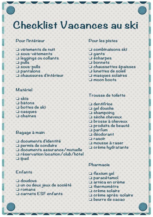 Pour ne plus rien oublier la liste de tout ce que vous devrez emporter pour vos vacances au - Liste constructeur maison a eviter ...