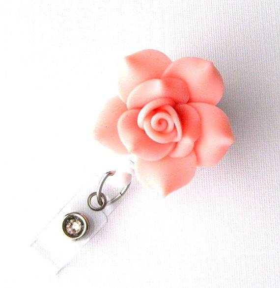 Salmon Rose - Retractable Badge Reel - Flower Badge Holders - Designer ID Reel - Nurse Gifts - Pretty Name Badge Clips - BadgeBlooms on Etsy, $10.00