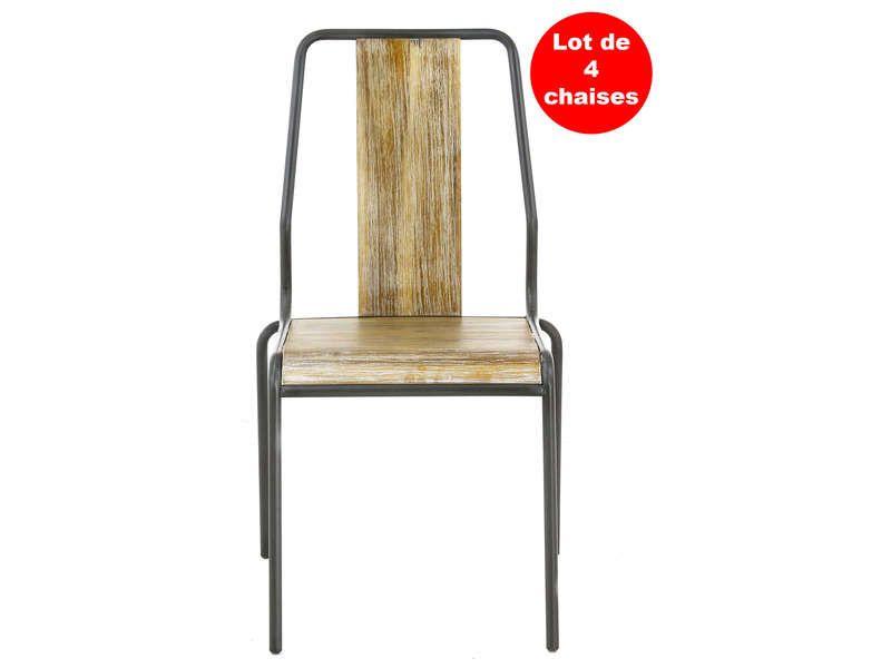 Lot de 4 chaises Worker coloris acacia pas cher prix promo Chaises - conforama chaises salle a manger