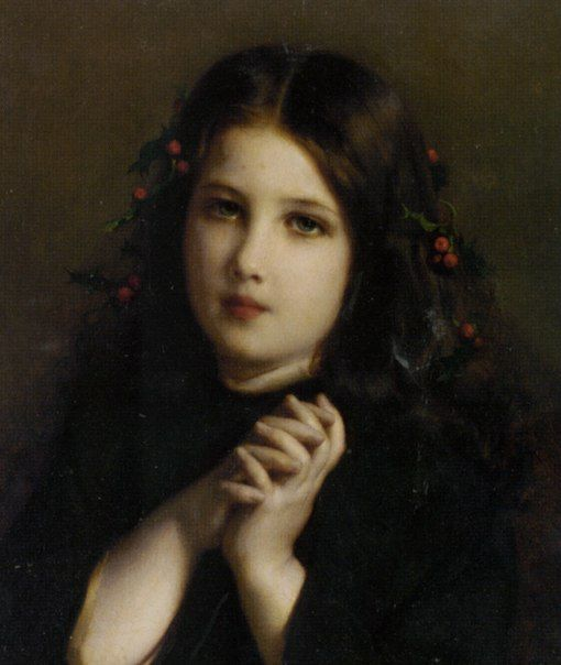 A Young Girl with Holly Berries in Her Hair ~ Etienne Adolphe Piot ~ (1850-1910)