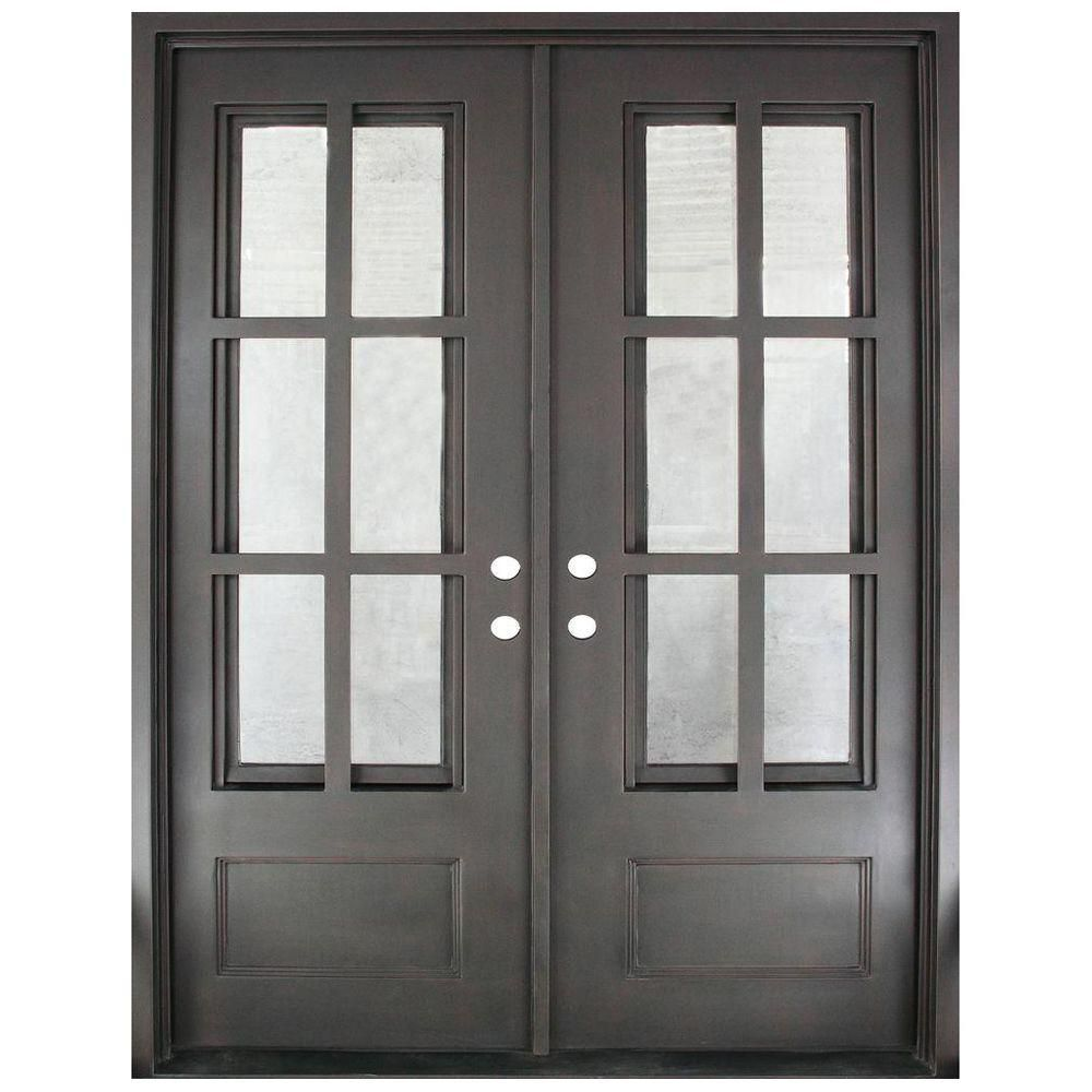 Iron Doors Unlimited 62 In X 81 5 In Craftsman Classic 12 Lite Painted Oil Rubbed Bronze Clear Wrought Iron Prehung Front Door Iron Doors Iron Front Door