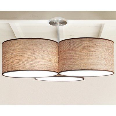 Seascape lamps tryptic 3 light drum pendant shade color natural