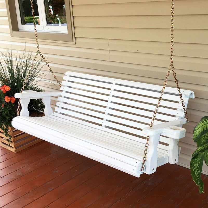 154 Centerville Amish Heavy Duty 700 Lb Capacity White Porch Swing