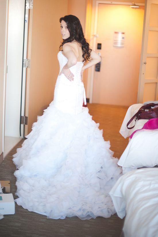 Bride in Mermaid Wedding Dress with Tier Skirt
