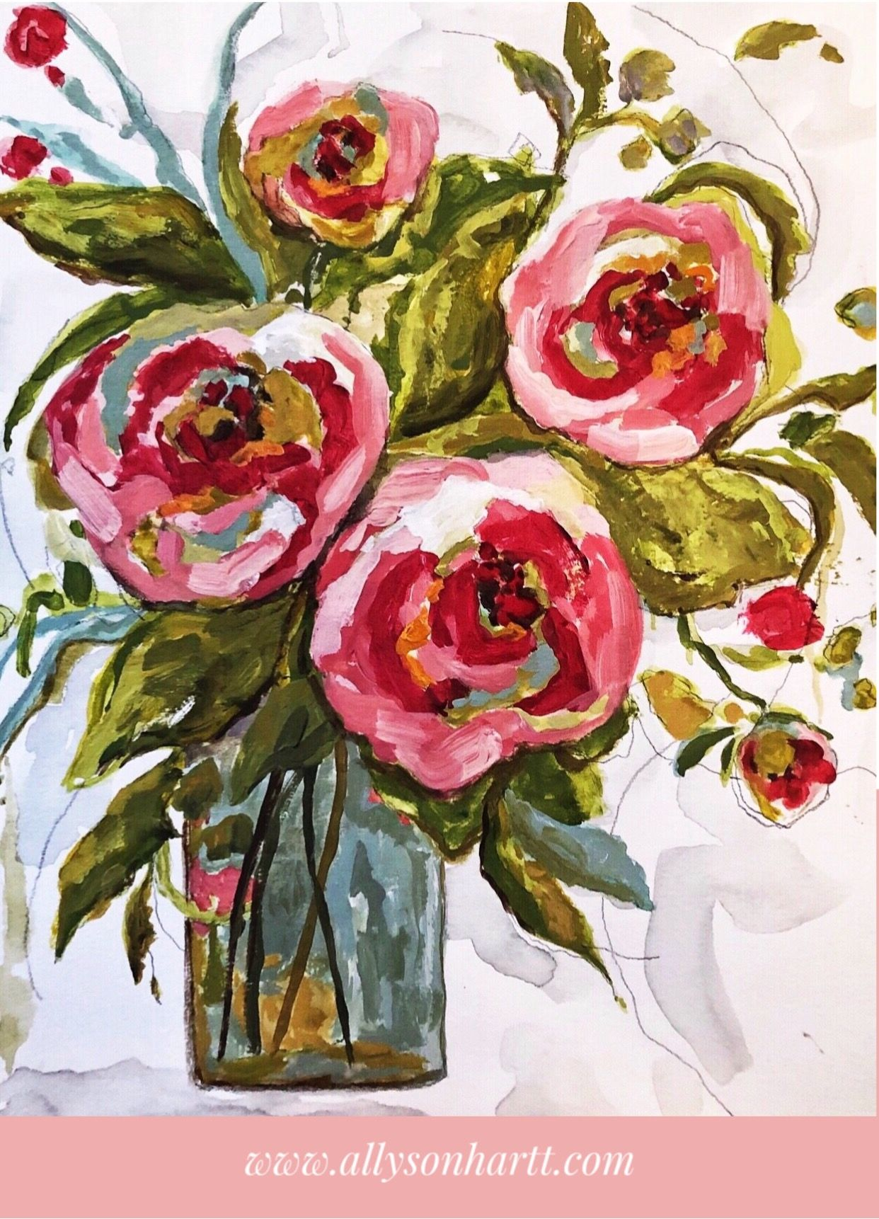 Original Painting Of Garden Roses In Watercolor Acrylic And